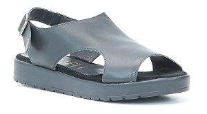 Sandália Plataforma feminina em couro Wuell Casual Shoes - Ouro Branco - AB 03120 - preta