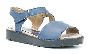 Sandália Plataforma feminina em couro Wuell Casual Shoes - Ouro Branco - AB 07220 - marinho