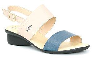 Sandália feminina em couro Wuell Casual Shoes - Caeté - NR 001863 - creme e marinho