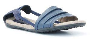 Sandália Rasteira Feminina em couro Wuell Casual Shoes - Lavras Novas  - VN 263232 - marinho
