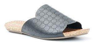 Sandália Rasteira feminina em couro Wuell Casual Shoes - Mariana- DO 59513 - preta