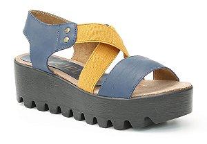 Sandália Plataforma feminina em couro Wuell Casual Shoes - Ouro Branco  - AB 07915 - marinho e amarelo