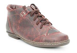 Bota Feminina cano curto em couro Wuell Casual Shoes - CB 6300 - vermelha