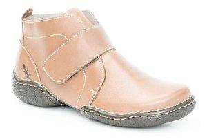 Bota Feminina cano curto em couro Wuell Casual Shoes - MC 0800- marrom