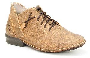 Bota Feminina cano curto em couro Wuell Casual Shoes - VC 0100 - laranja