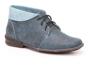 Bota Feminina cano curto em couro Wuell Casual Shoes - VC 0400 - azul