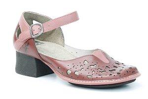 Sapato de salto médio Feminino em couro Wuell Casual Shoes - KC 2500 - vermelho