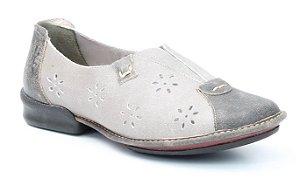 Sapato Feminino em couro Wuell Casual Shoes - QC 1400 - areia e cinza