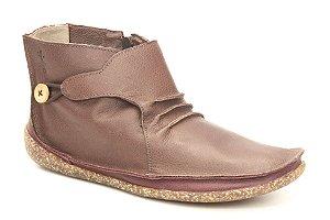 Bota feminina em couro Wuell Casual Shoes  - YORI 3175 - marrom e vermelha