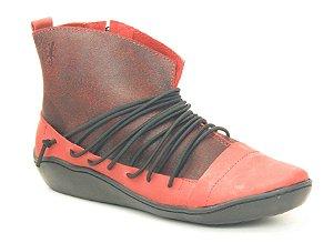 Bota feminina em couro Wuell Casual Shoes  - SAMI 77510 - vermelha