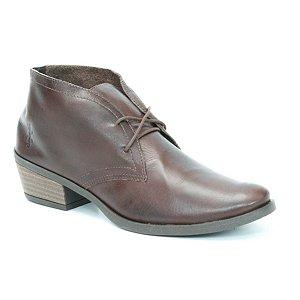 Bota de Salto Baixo Feminina em Couro Wuell Casual Shoes - Pacha - 4314 - marrom