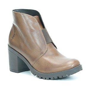 Bota Feminina em Couro com Salto Alto Wuell Casual Shoes - PACHA 1618 - marrom