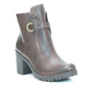 Bota Feminina em Couro com Salto Alto Wuell Casual Shoes - PACHA 2394- marrom escuro