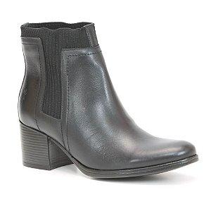 Bota Feminina em Couro com Salto Wuell Casual Shoes - SHAYA 057915 - preto
