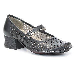 Sapato Feminino em couro salto médio Wuell Casual Shoes - KOYA - KC 4200 - preto