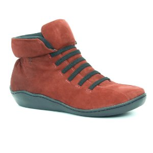 Bota feminina em couro Wuell Casual Shoes  - SAMI 76510 - vermelha