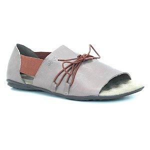 Sandália Rasteira Feminina em couro Wuell Casual Shoes - VN 321232 - marrom e vermelho