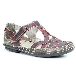 Sapato Feminino em couro Wuell Casual Shoes - Cris -MA 0300 -  bordô / café