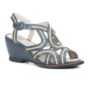 Sandália Anabela Feminina em couro Wuell Casual Shoes -MB 2000 -  Azul