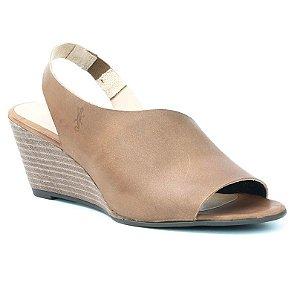 Sandália Feminina Salto Anabela em couro Wuell Casual Shoes - Ceros - VN 150400 - castanho