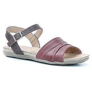 Sandália Rasteira Feminina em Couro Wuell Casual Shoes - Prios - TI 60237 - bordô e tabaco