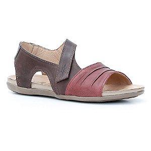 Sandália Rasteira Feminina em Couro Wuell Casual Shoes - Prios - TI 60337 - bordô e tabaco