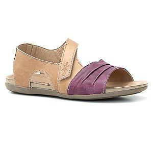 Sandália Rasteira Feminina em Couro Wuell Casual Shoes - Prios - TI 60337 - lilás e bambú