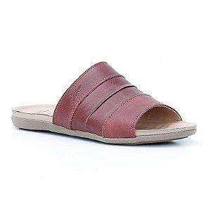 Sandália Rasteira Feminina em Couro Wuell Casual Shoes - TI 60437 - bordô