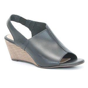 Sandália Feminina Salto Anabela em couro Wuell Casual Shoes - Ceros - VN 165400 - preta