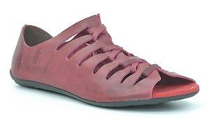 Sandália Rasteira Feminina em Couro Wuell Casual Shoes - 101210 - carmim