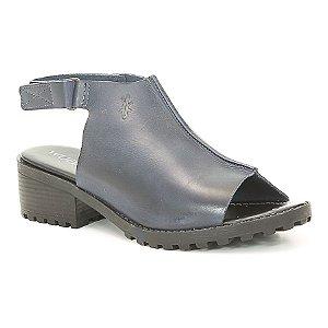 Sandália Feminina de salto médio em couro Wuell Casual Shoes - Ceros - VN 071407 - marinho