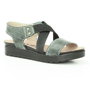 Sandália Anabela Feminina em Couro Wuell Casual Shoes - Rhea - BS 07920 - verde escovado