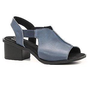 Sandália de salto médio Feminina em Couro Wuell Casual Shoes - Trida - NMB 11379 - azul