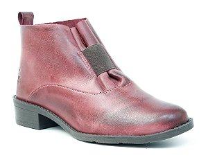 Bota Feminina cano baixo em Couro Wuell Casual Shoes - BZ 5650 - vinho