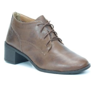 Bota de cano baixo Feminina de Couro Wuell Casual Shoes - BZ 0136 - marrom