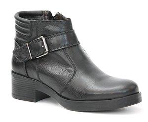 Bota de Salto Feminina em Couro Wuell Casual Shoes - SR - 0316 - preta