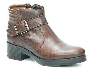 Bota de Salto Feminina em Couro Wuell Casual Shoes - SR - 0316 - marrom
