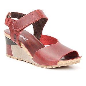 Sandália salto anabela Feminina em Couro Wuell Casual Shoes - Yurus - VC 06070 - vermelha