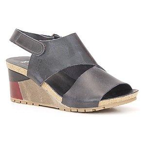 Sandália salto anabela Feminina em Couro Wuell Casual Shoes - Yurus - VC 02170 - azul