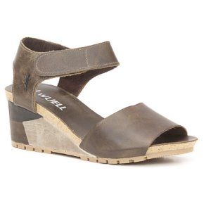 Sandália salto anabela Feminina em Couro Wuell Casual Shoes - Yurus - VC 05570 - marrom
