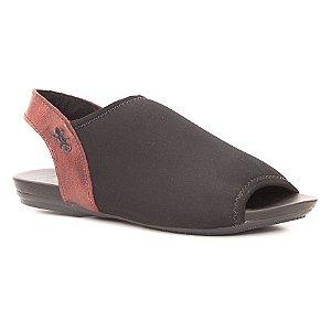 Sandália Rasteira Feminina em Couro Wuell Casual Shoes - Yurus - VC 99510 - preto / vermelho