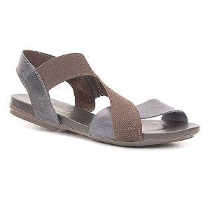 Sandália Rasteira Feminina em Couro Wuell Casual Shoes - Yurus - VC 61210 - marinho / marrom