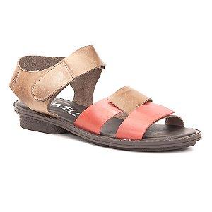 Sandália anabela Feminina em Couro Wuell Casual Shoes - Trida - RO 6660 - vermelho e marrom