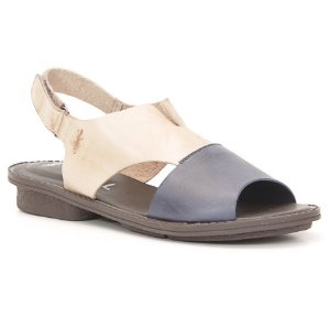 Sandália anabela Feminina em Couro Wuell Casual Shoes - Trida - RO 4960 - azul e nude