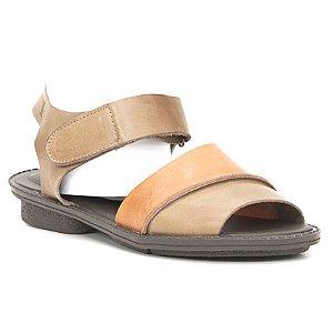Sandália anabela Feminina em Couro Wuell Casual Shoes - Trida - RO 3560 - marrom e laranja