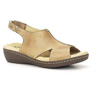 Sandália Anabela Feminina em Couro Wuell Casual Shoes - Athene - DR 60 - areia