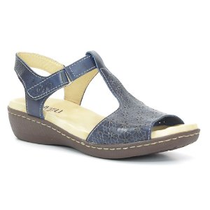 Sandália Anabela Feminina em Couro Wuell Casual Shoes - Athene - DR 04 - azul