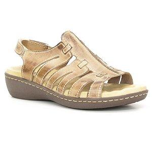 Sandália Anabela Feminina em Couro Wuell Casual Shoes - Athene - DR 03 - areia