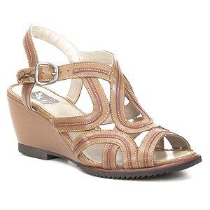Sandália Anabela Feminina em couro Wuell Casual Shoes - Cris - MB 2000 -  Marrom