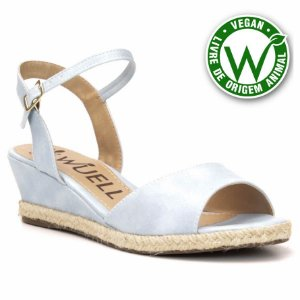Sandália salto Anabela Feminina Wuell Casual Shoes - Vegan 3611 - azul